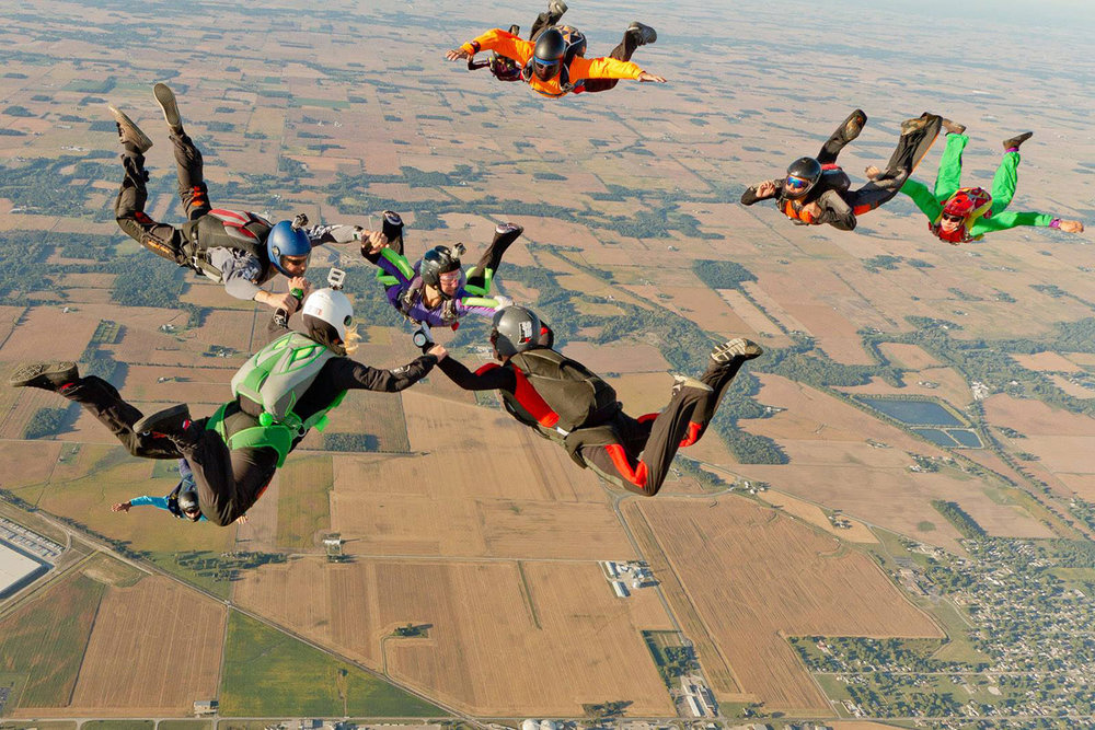 Licensed skydivers create formation