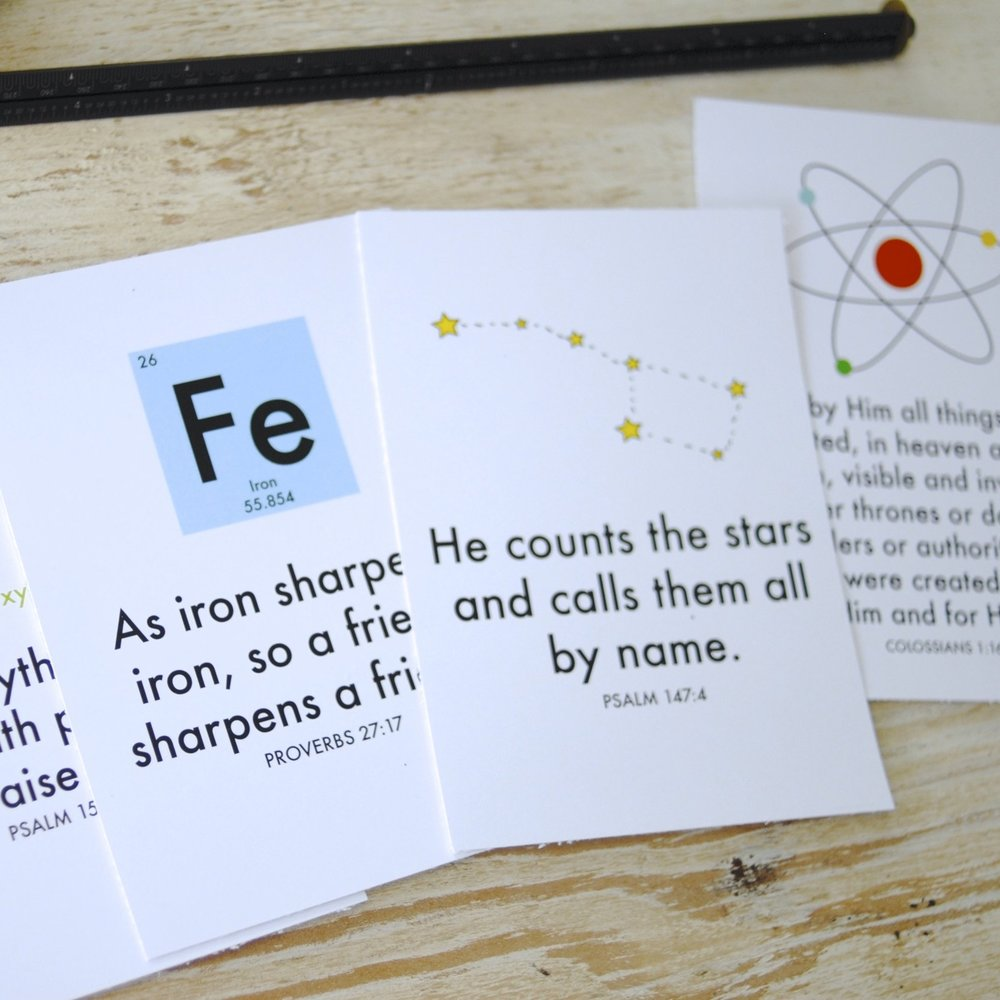 sCIENCE + Scripture printABLE - A set of four 5X7 prints