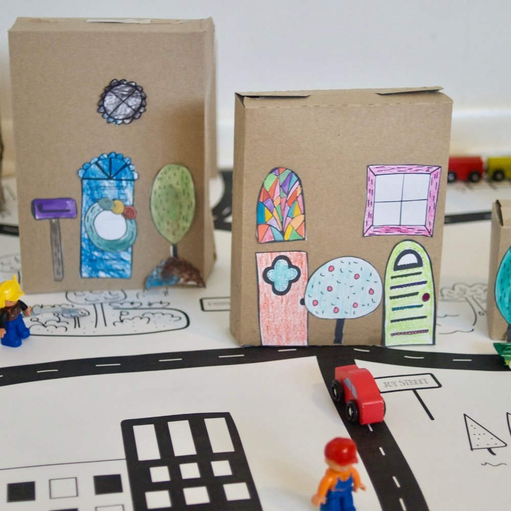 paper neighborhood - Make a box neighborhood with cute house illustrations