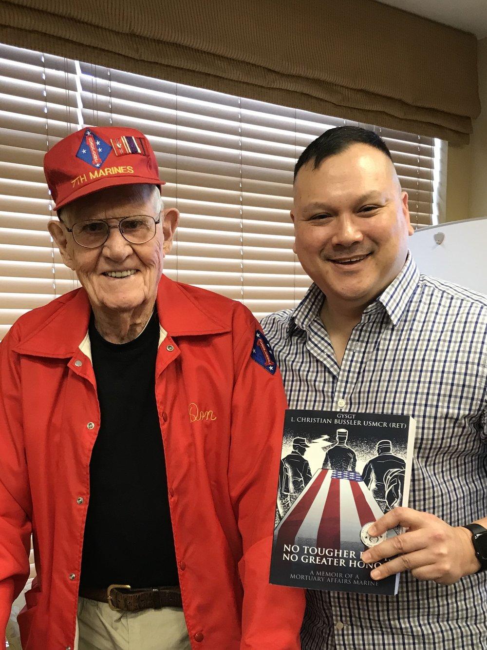 Mr Don Barrett. WWII Marine combat veteran of the legendary battles of Guadalcanal, Gloucester, Peleliu, and Saipan!!!! A TRUE AMERICAN HERO