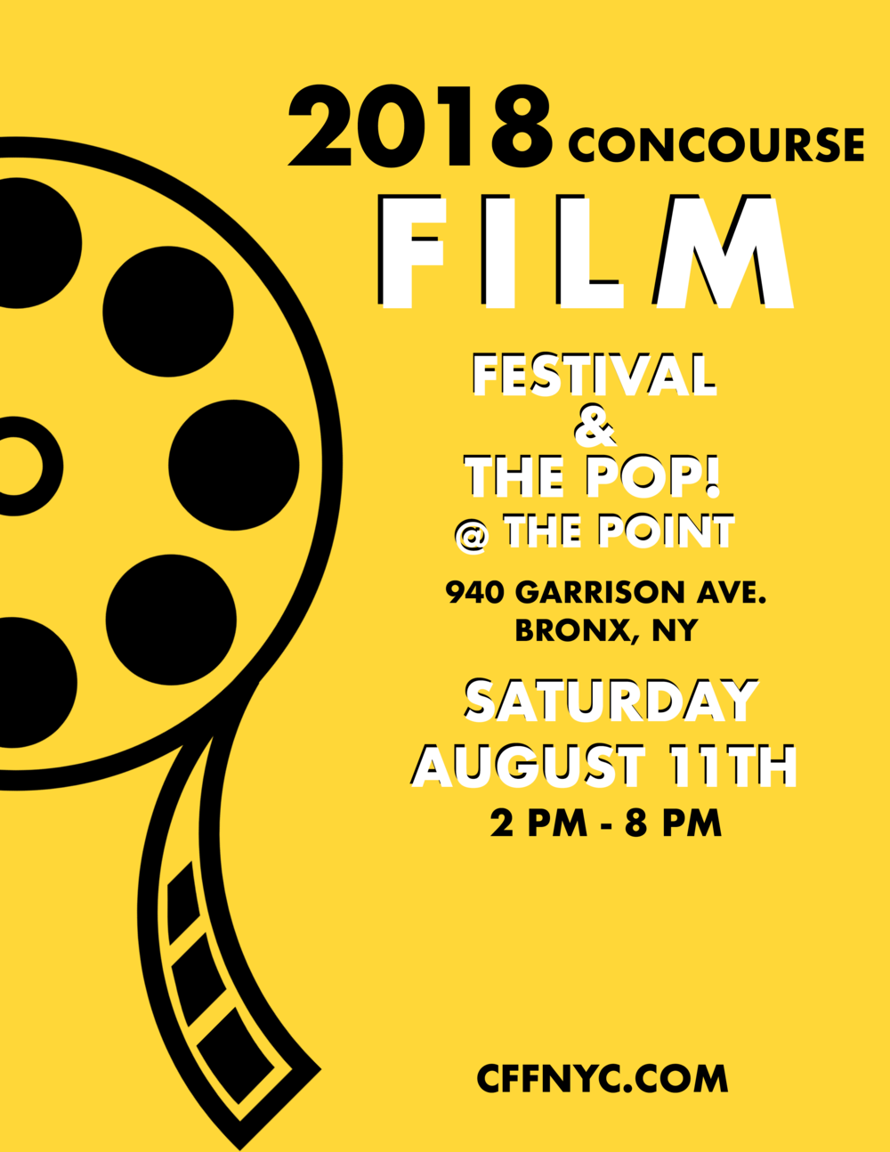 Summer Film Festival - The 1st Annual 2018 Concourse Film Festival will be highlighting a profound collection of films, music videos and online content from Bronx Filmmakers, and filmmakers from all across this nation. We strive to become a defining platform for our Bronx filmmakers and all artists alike. Join us, Saturday, August 11th and become part of our city's history!