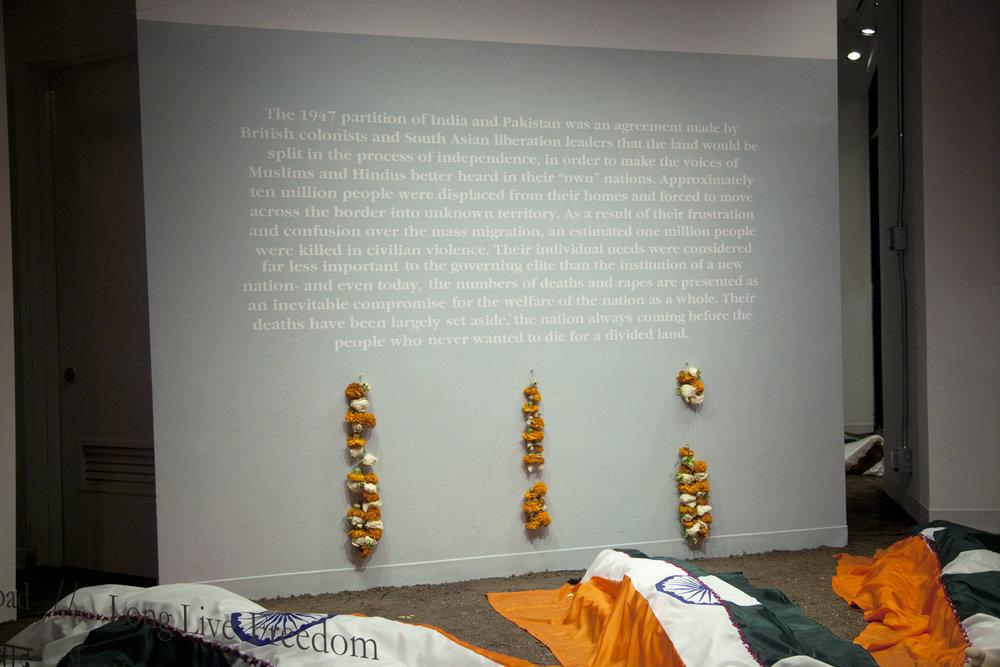 Azaadi Zindabad (आज़ादी ज़िंदाबाद) / Long Live Freedom . Mixed media installation. Dimensions variable. 2014.