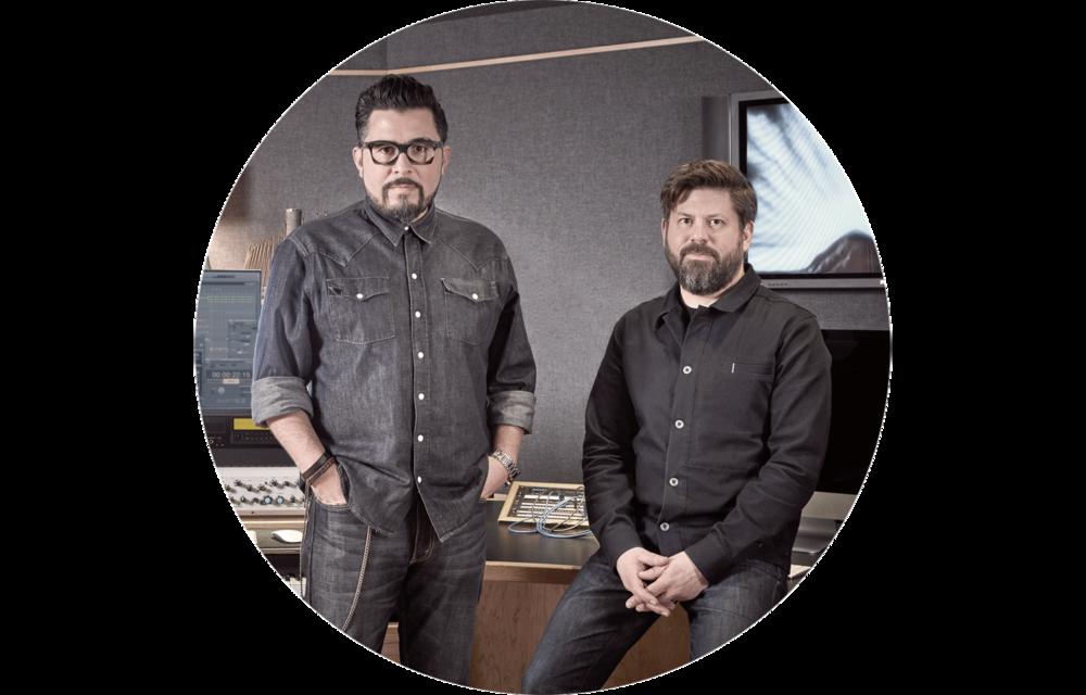 (l-r)  Héctor H. Pérez : Music Producer, Sr. Composer;  Michael Lande : Producer, Sr. Composer