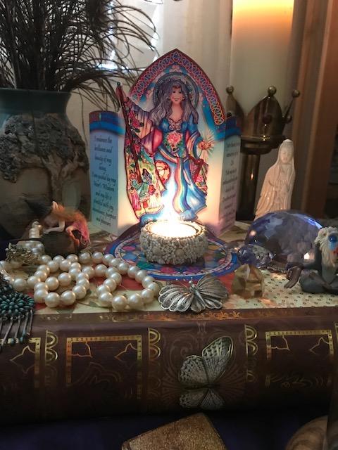 Altar card with candle, shara rose.JPG