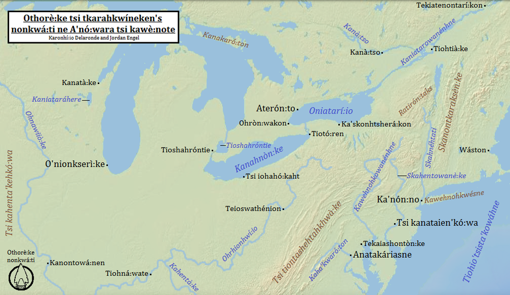 Northeast Turtle Island in Mohawk from : The Decolonial Atlas