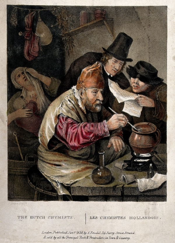Credit: Wellcome Library, London. Wellcome Images images@wellcome.ac.uk  http://wellcomeimages.org  An alchemist hunched over his crucible; an assistant reads him a recipe, watched by an onlooker; the alchemist's wife weeps in the dim background, a baby clasped to her breast. Coloured lithograph by Bouvier, 1830, after J. Steen. By: Jan Havicksz Steenafter: BouvierPublished: January 1830