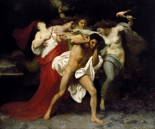 The Remorse of Orestes, where he is surrounded by the  E rinyes, who were identified as chthonic beings, by  William-Adolphe Bouguereau , 1862