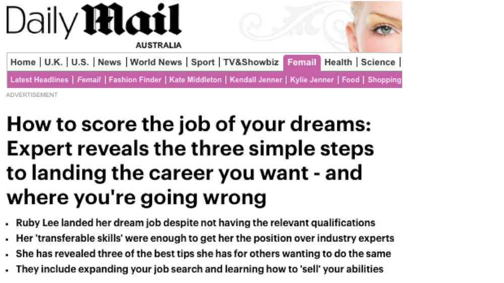 Once I embraced my personal brand and confidently spoke about opportunities found me such as the Daily Mail doing an article on me.