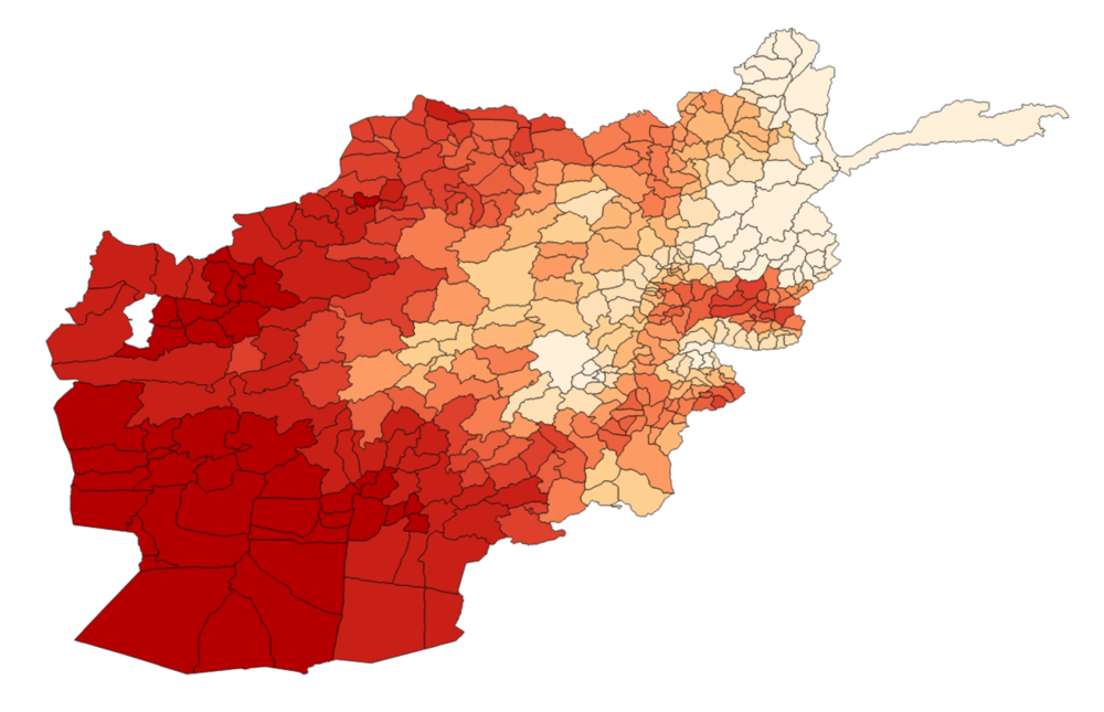 Variation of nighttime luminosity across Afghan districts. Darker red indicates more variation.