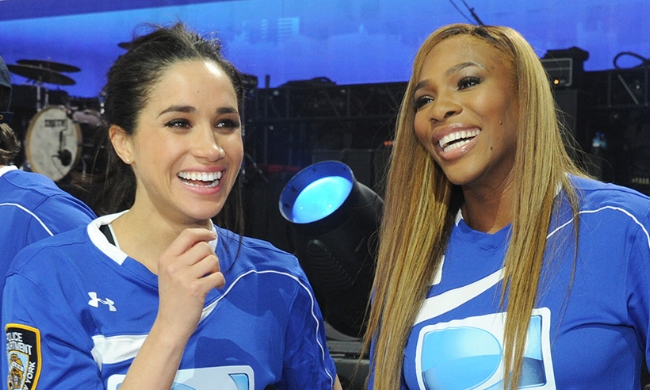 Soon-to-be Princess Meghan and Serena Williams at a charity flag football event.