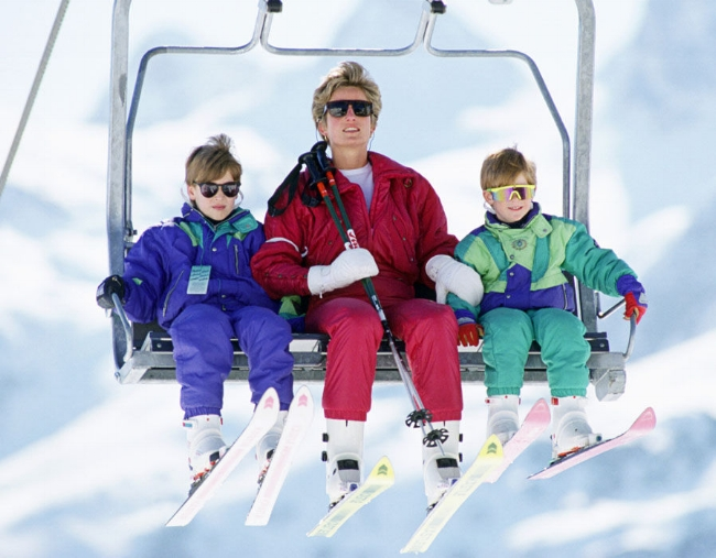 A young Prince William, Princess Diana and Prince Harry on a family ski trip,
