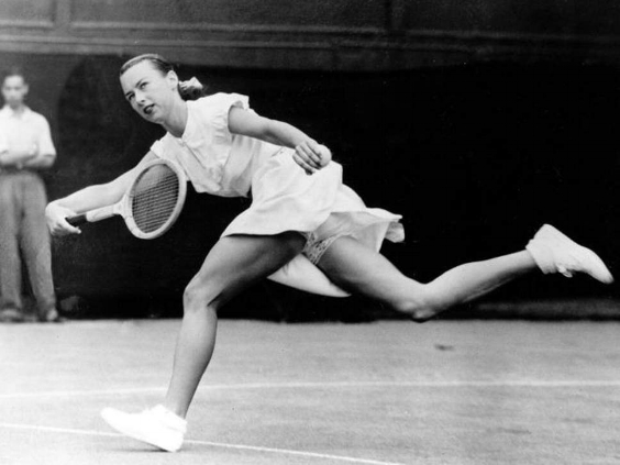 Gussie Moran playing in the 1940s with her spandex shorts.
