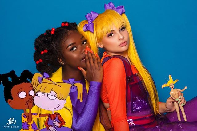 The dynamic duo of the 90's #sxtstyles (please get into Cynthia) #details  Photo: @jpwphoto  Hair: @kiradiorhair  Mua: @thegoldnnugg  Muse: @_princessjai  x @isabelminette  #angelicapickles #susiecarmichael #rugrats #nickelodeon #90sfashion #90scartoons #halloweencostume #halloweenmakeup #happyhalloween