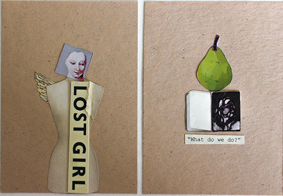 Finalist, Clayton Utz Award, 2015.  The Lost Girl , 2015, mixed media collage, 14cm (w) x 11 cm (h).