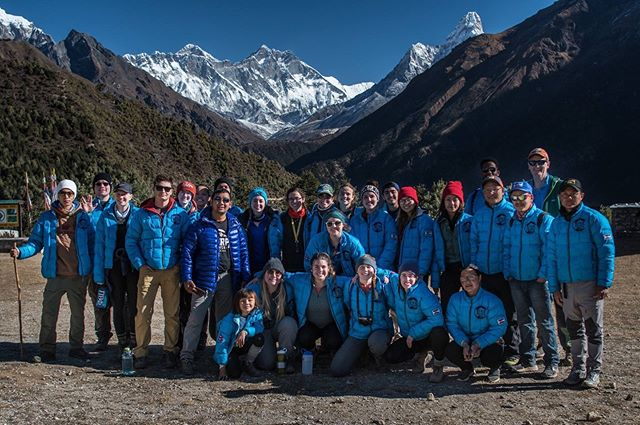The winter 2018 team up-above Namche at the Mount Everest viewpoint (and of course don't forget about Ama Dablam on the right)!