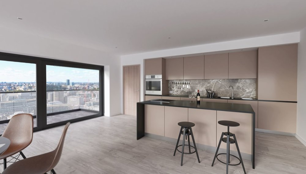 Contemporary simplistic kitchen design in a London apartment