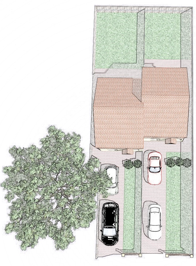 Bird's-eye view of a feasibility study for a two-dwelling development in Higham Ferrers