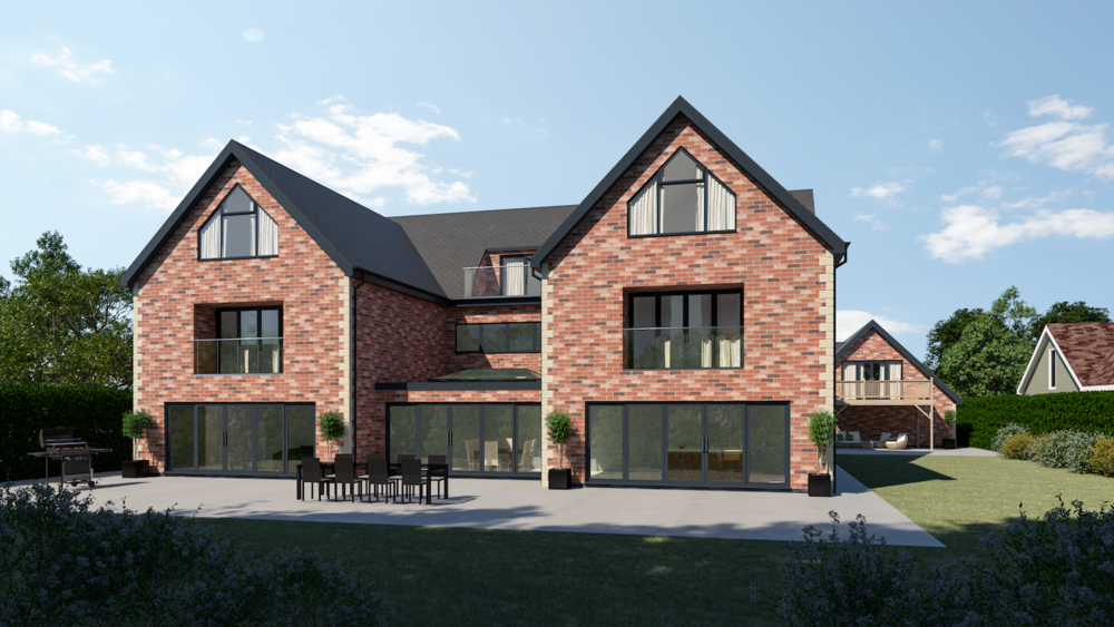 Rear view of a 5-bedroom high-end build in Northamptonshire
