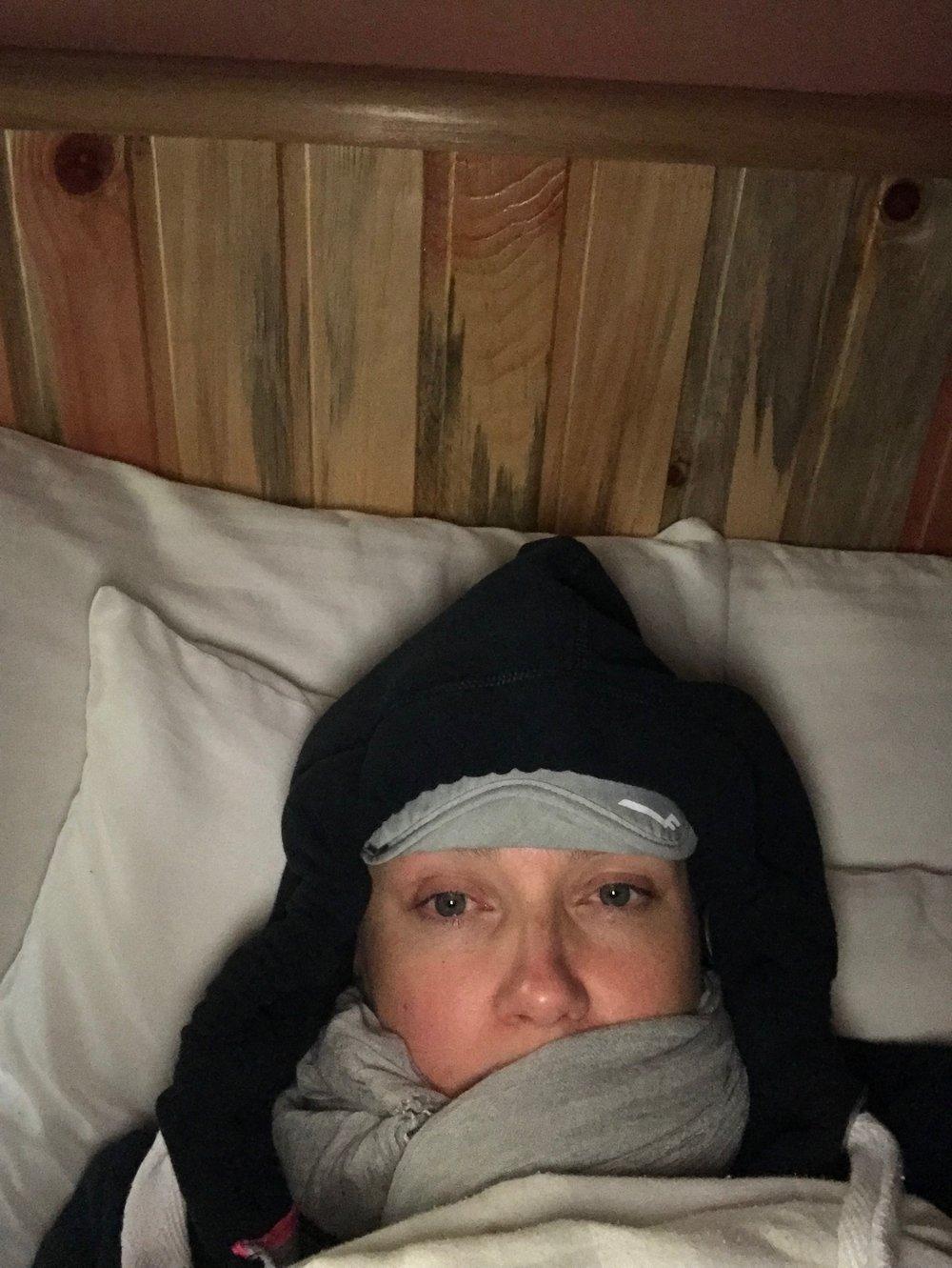 Heini ensimmäisen yön tunnelmissa. Kuva: Heini Lehto