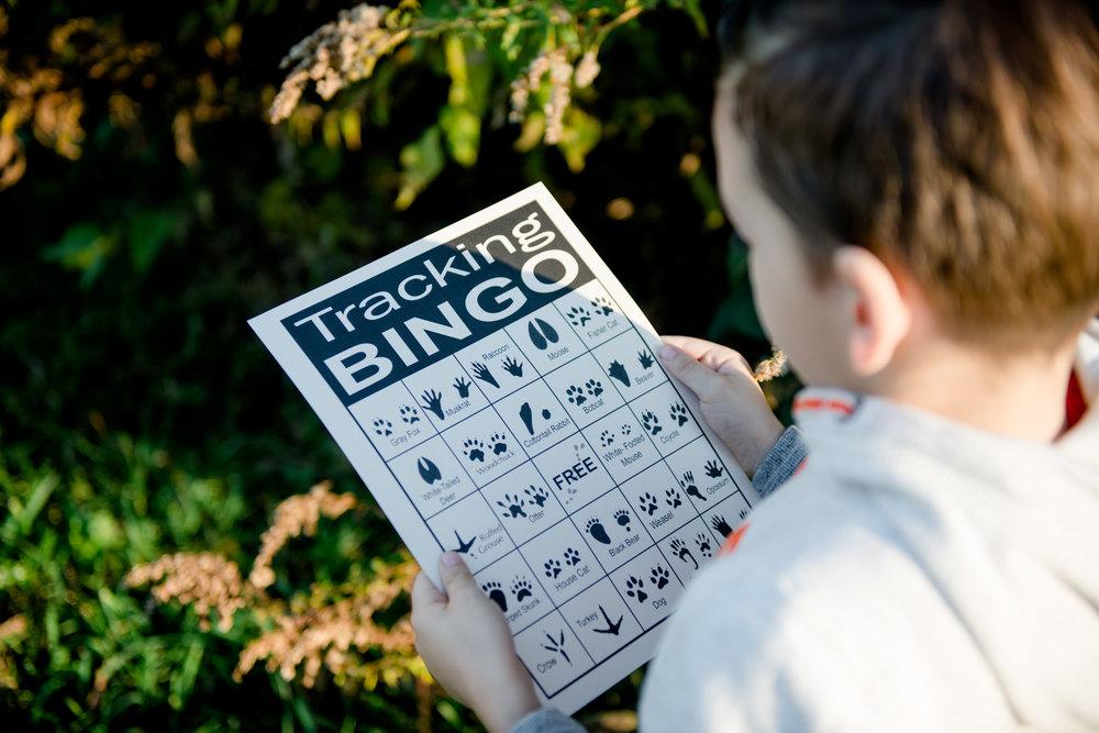 Tracking Bingo, featured in the Wonderkin Animal Tracks Box