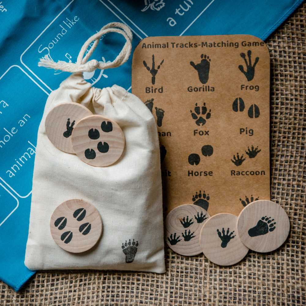 Animal Track Memory Game, featured in the Wonderkin Animal Tracks Box