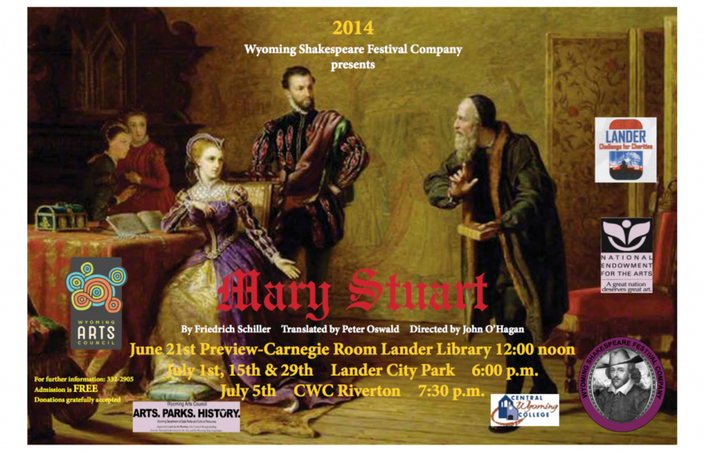 Wyoming Shakespeare 2014 production poster for Mary Stuart