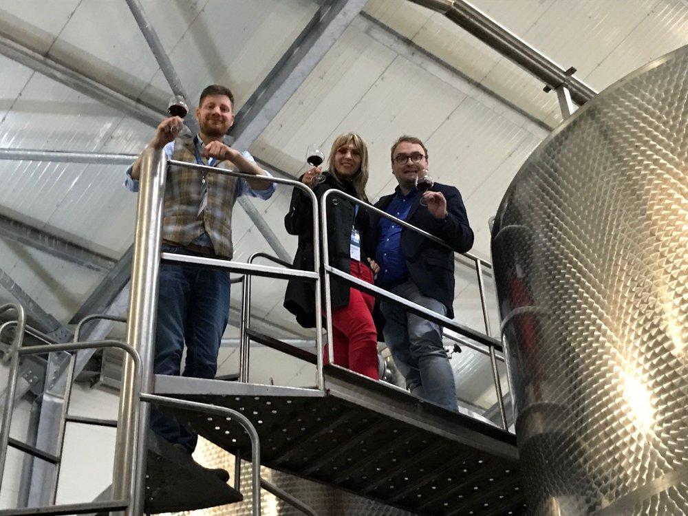 Me, Paul Deneulenaere and Serbian winemaker Jelena Petrovic