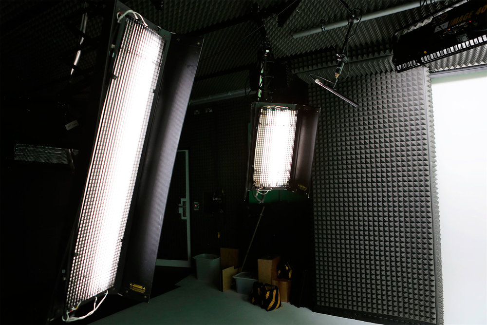 Rigged Kino Flo studio lights