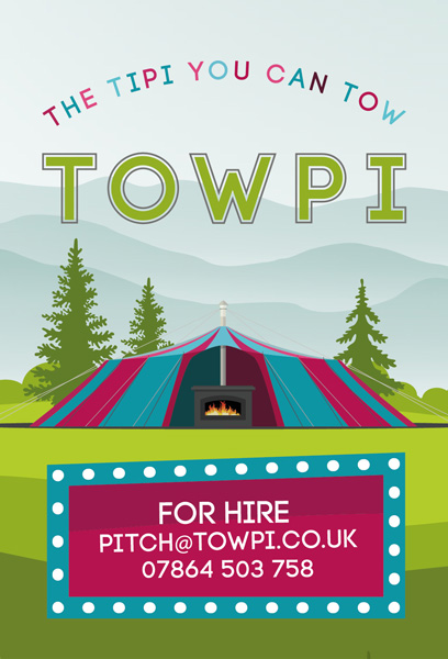 Towpi. - 'Towpi' is a unique, purposefully designed tent ready for hire. With its charismatic style it will bring any party or event to life, creating an atmospheric feel for your guests to enjoy. The Towpi is a colourful canvas event and mobile party venue, with a capacity of up to 150 guests. The Towpi is formed around a large central wood-fired stove which is ideal for cooking or just providing your party with some extra warmth and adding to the atmosphere.Phone: 07864 503758eMail:www.facebook.com/Towpihire/