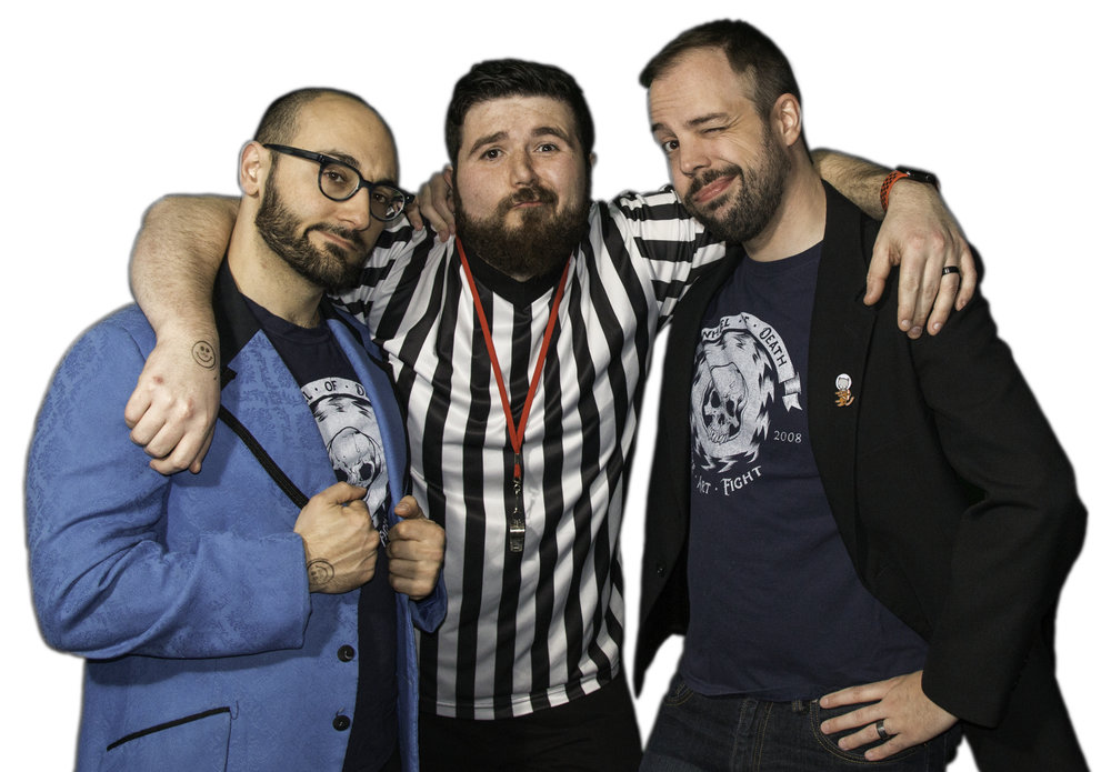 Ross Nover (Host), Brandon Chalmers (Referee), and Marty Day (Host) (L to R)