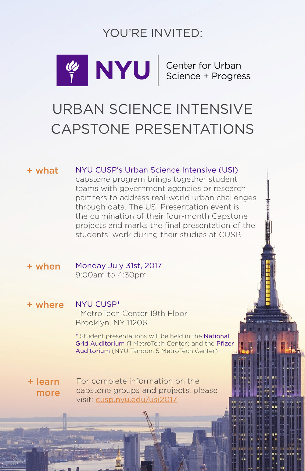 Capstone Presentations Invitation