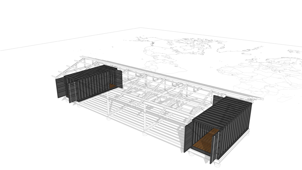 Shipping Containers - They provide transport as well as critical structural support for the framing system.