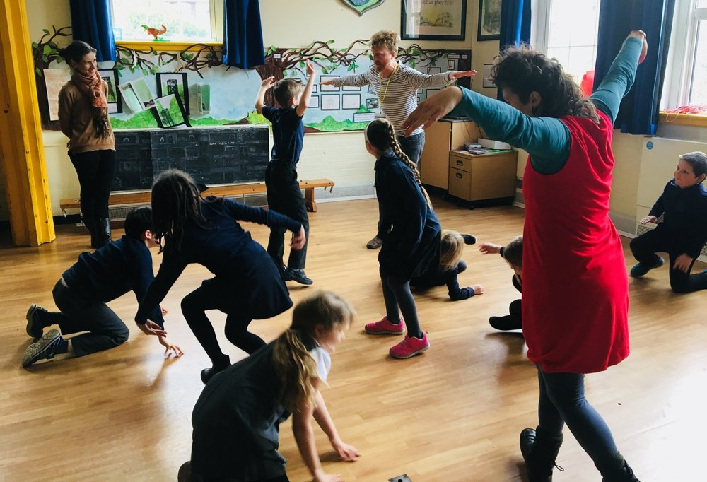 Lydbrook School - From Jan -May 2018 Wyldwood associate artists Chez Dunford and Adam Blake are running a series of community engagement workshops. With several schools from the Wye Valley they will be making a new performance with the students.See project page.