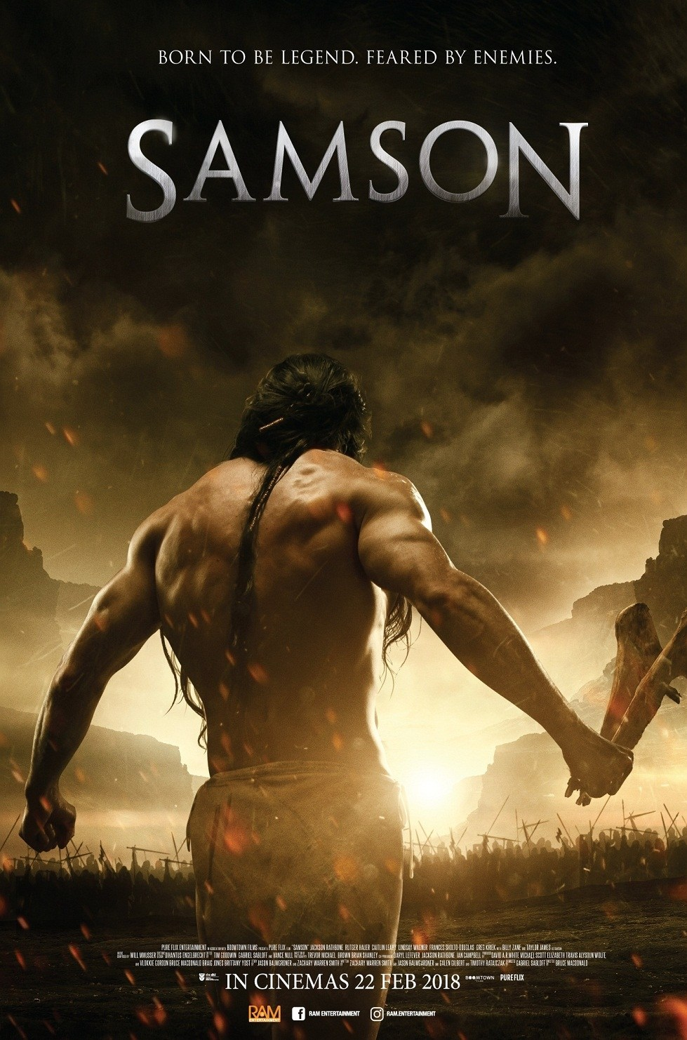 SAMSON (2018) - Directed by: Bruce Macdonald, Gabriel SabloffStarring: Jackson Rathbone, Billy Zane, Taylor James, Rutger Hauer, Caitlin LeahyRated: PG13Running Time: 1h 50mTMM Score: 1 star out of 5STRENGTHS: Rathbone's MusclesWEAKNESSES: Everything Else