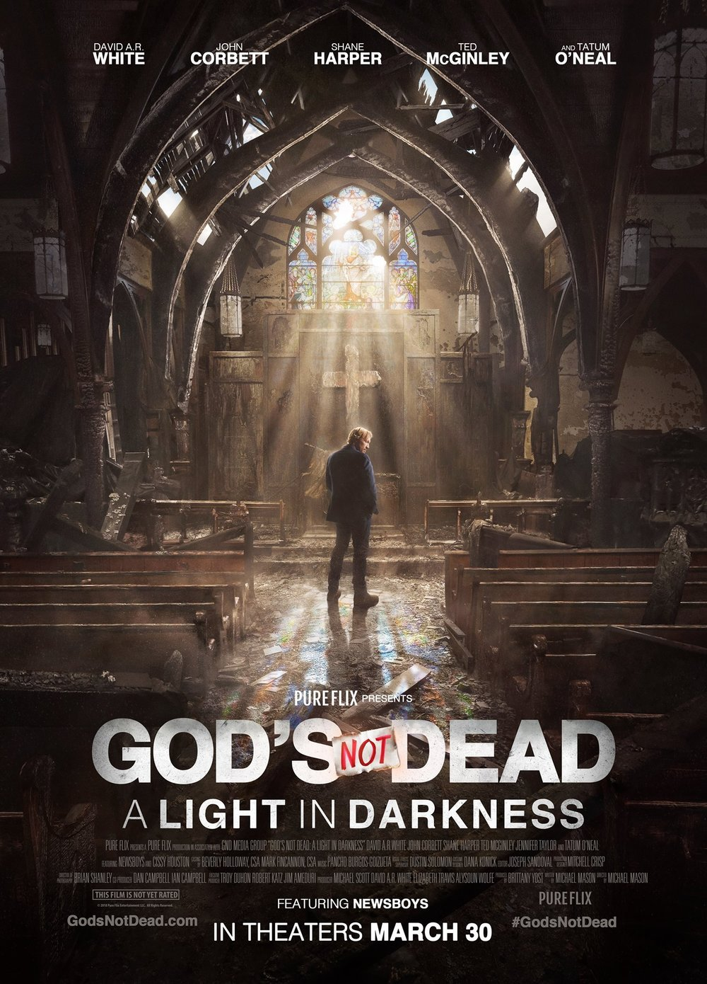 God's Not Dead: A Light in the Darkness (2018) - Directed by: Michael MasonStarring: David A.R. White, John Corbett, Shane HarperRunning Time: 1h 45mTMM Score: 1 star out of 5STRENGTHS: MessageWEAKNESSES: Pacing, Characters, Acting, Visual FX