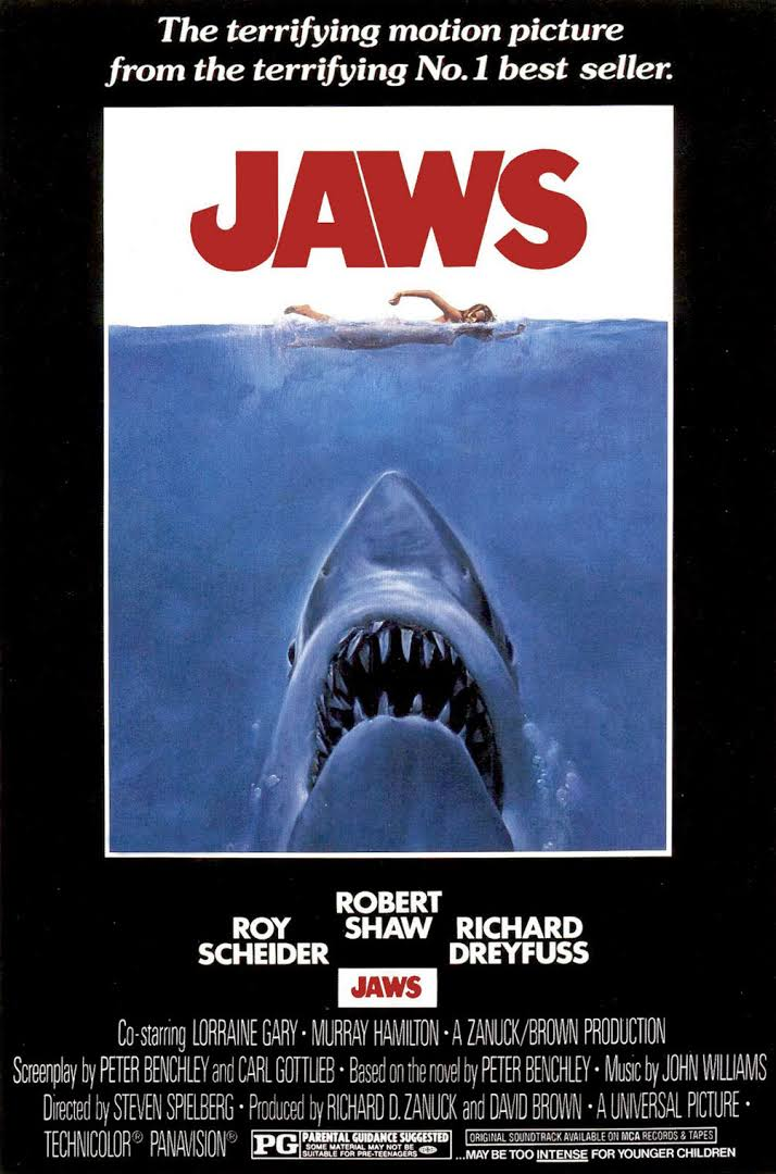 Jaws (1975) - Directed by: Steven SpielbergStarring: Roy Scheider, Richard Dreyfuss, Robert ShawRated: PGRunning Time: 2 h 4 mTMM Score: 5 stars out of 5STRENGTHS: Pacing, Direction, Writing, MusicWEAKNESSES: -