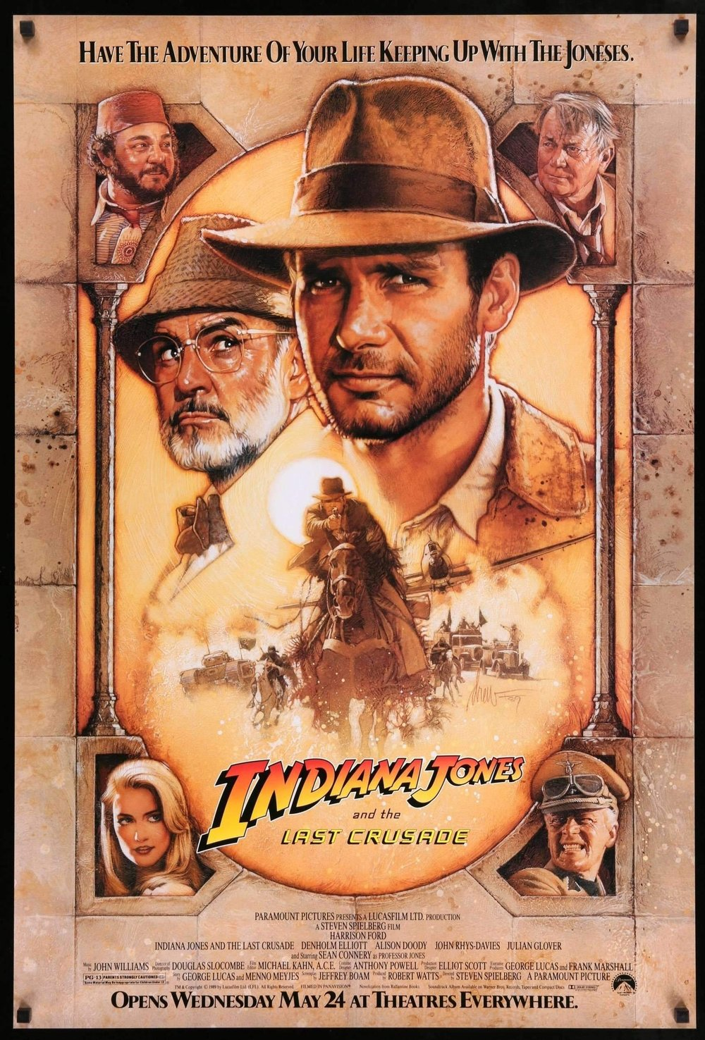 Indiana Jones and The Last Crusade (1989) - Directed by: Steven SpielbergStarring: Harrison Ford, Sean Connery, Allison DoodyRated: PG-13Running Time: 2 h 7 mTMM Score: 4.5 stars out of 5STRENGTHS: Pacing, Directing, Character Chemistry, MusicWEAKNESSES: Plausibility (?)