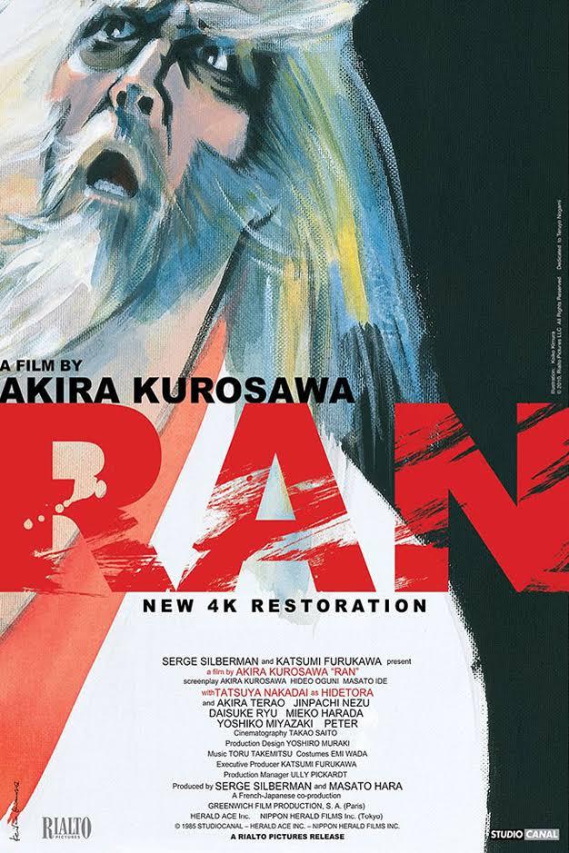 Ran (1985) - Directed by: Akira KurosawaStarring: Tatsuya Nakadai, Akira Terao, Jinpachi Nezu, Daisuke RyuRated: RRunning Time: 2 h 42 mTMM Score: 5 stars out of 5STRENGTHS: Writing, Directing, Acting, Production Design, CinematographyWEAKNESSES: -