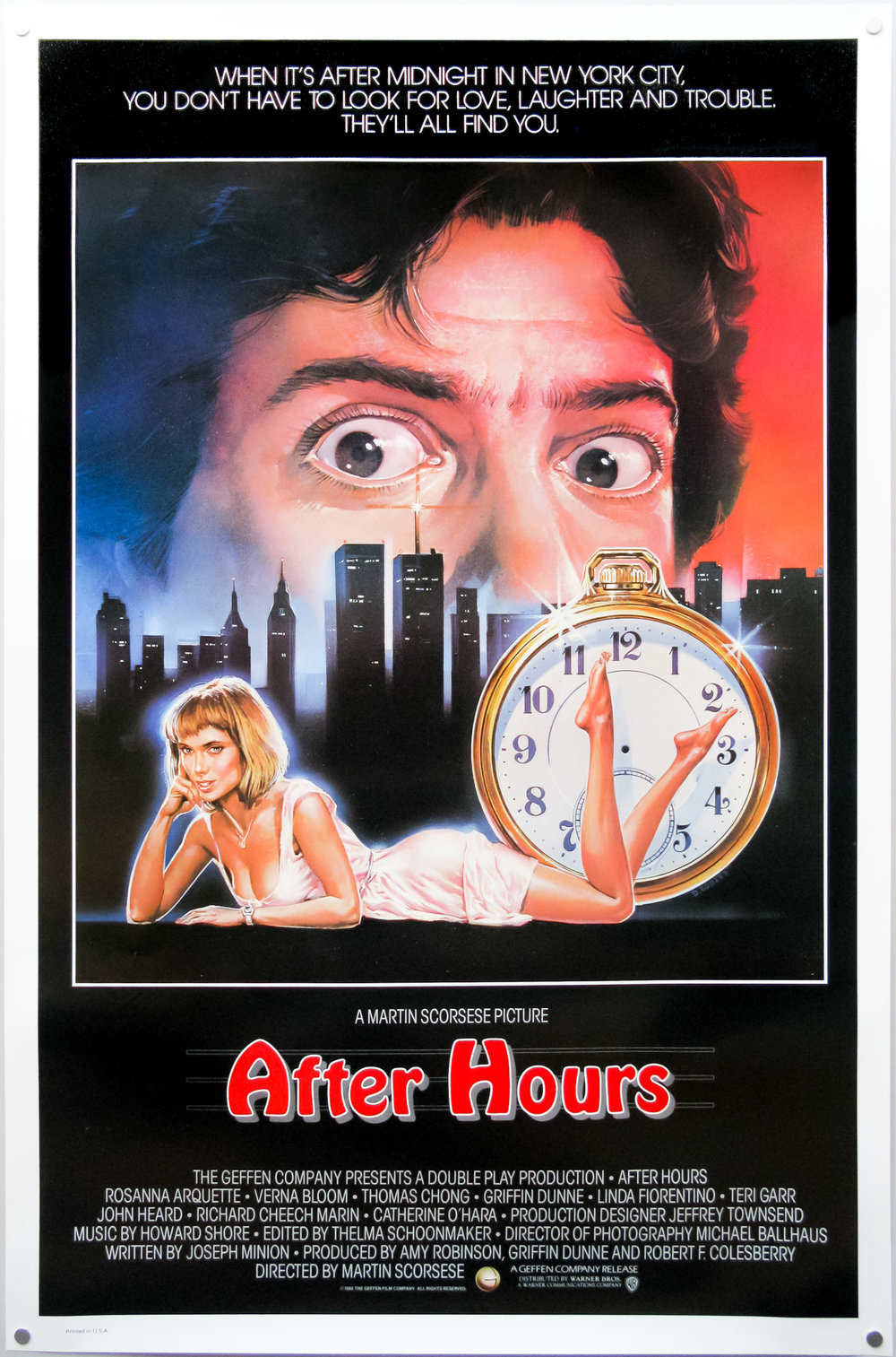 After Hours (1985) - Directed by: Martin ScorseseStarring: Griffin Duune, Rosanna Arquette, Verna BloomRated: RRunning Time: 1 h 37 mTMM Score: 4.5 stars out of 5STRENGTHS: Writing, Directing, Acting, PacingWEAKNESSES: -