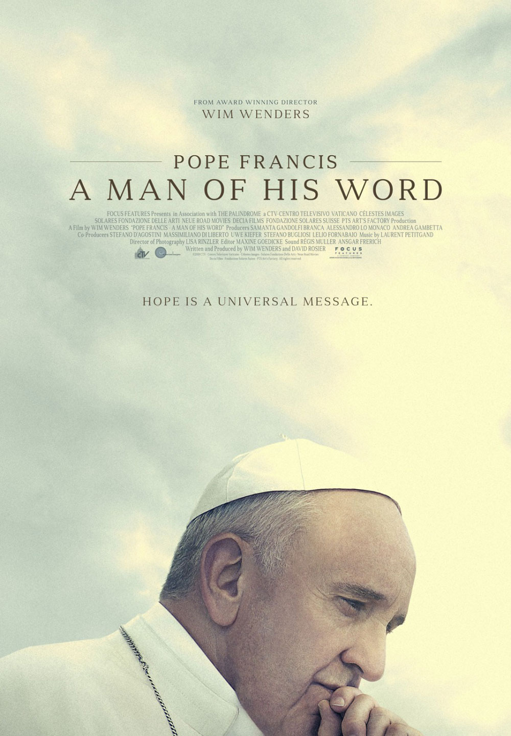 Pope Francis: A Man of His Word (2018) - Directed by: Wim WendersStarring: Pope FrancisRunning Time: 1h 36mRated: PGTMM Score: 4 stars out of 5 (I really liked it)STRENGTHS: Unique, Themes, SubjectWEAKNESSES: Length, False Endings