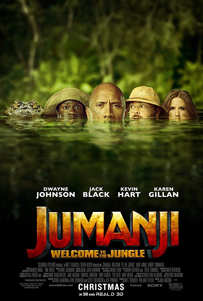 Jumanji: Welcome to the Jungle (2017) - DIRECTED BY: JAKE KASDANSTARRING: DWAYNE JOHNSON, KAREN GILLIAN, KEVIN HART, JACK BLACKRATED: PG-13 FOR ADVENTURE ACTION, SUGGESTIVE CONTENT AND SOME LANGUAGERunning Time: 1 Hour 59 MinTMM: 3/5STRENGTHS: HUMOR, CHEMISTRY BETWEEN ACTORS, PACINGWEAKNESSES: THEMES, SEXISM, ORIGINALITY, FINDING A TARGET AUDIENCE