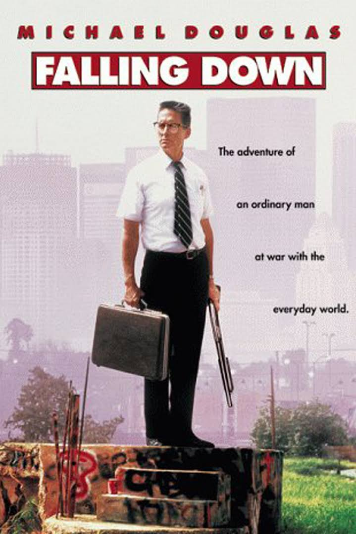 Falling Down (1993) - Directed by: Joel SchumacherStarring: Michael Douglas, Robert Duvall, Barbara HersheyRated: R for Violence and Strong LanguageRunning Time: 1 h 53 mTMM Score: 4.5 stars out of 5STRENGTHS: Writing, Acting, Concept, Message, CharactersWEAKNESSES: -