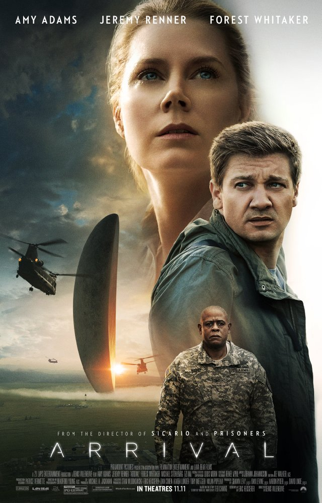 Arrival (2016) - Directed by: Denis VilleneuveStarring: Amy Adams, Jeremy Renner, Forest WhitakerRated: PG-13 for Brief Strong LanguageRunning Time: 1 H 56 MTMM: 5 out of 5 StarsStrengths: Story, Editing, Acting, Cinematography, Musical ScoreWeaknesses: -