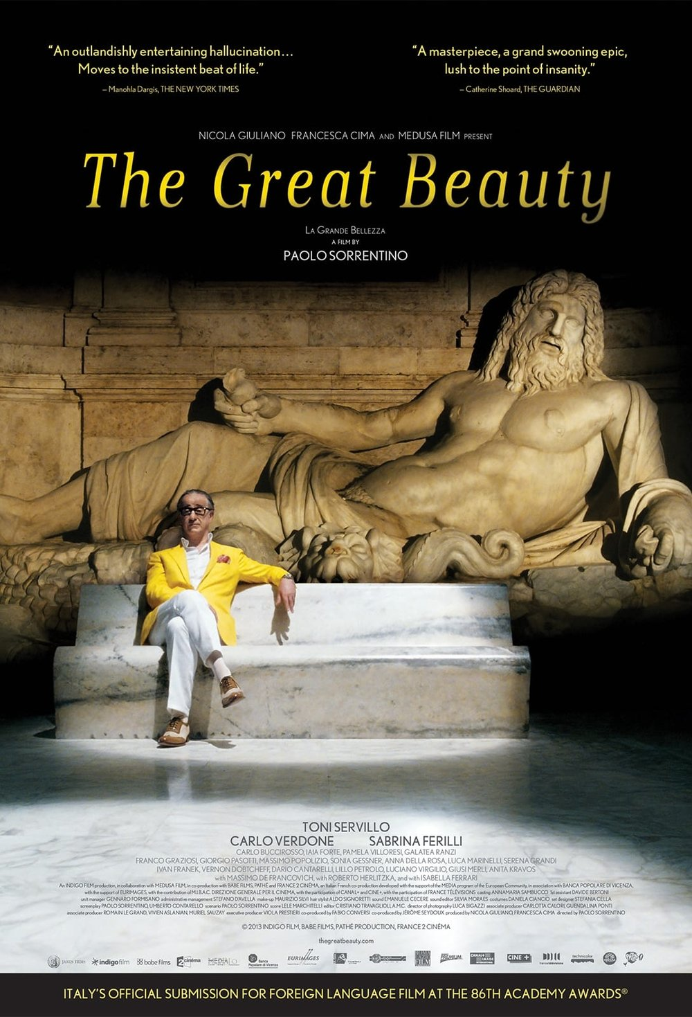 The Great Beauty (2013) - Directed by: Paolo SorrentinoStarring: Toni Servillo, Carlo Verdone, Sabrina FerilliRated: NR (Suggested R for Some Sexual Material Including Nudity, Mild Language, and Drug References)Running Time: 2 h 21 mTMM Score: 4.5 stars out of 5STRENGTHS: Writing, Directing, Cinematography, ActingWEAKNESSES: Pacing, Pretentiousness(?)