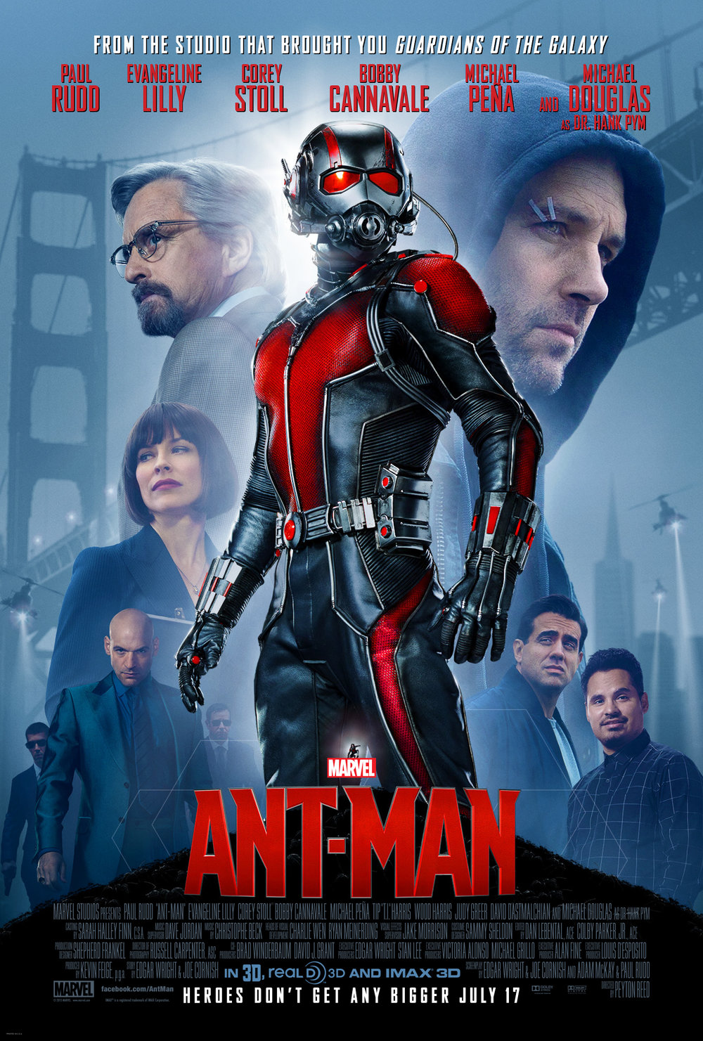 Ant-Man (2015) - Directed by: Peyton ReedStarring: Paul Rudd, Michael Douglas, Corey Stoll, Evangeline LillyRated: PG-13Running Time: 1h 57mTMM Score: 2 stars out of 5STRENGTHS: Some Humorous MomentsWEAKNESSES: Uninteresting, Not Heisty Enough