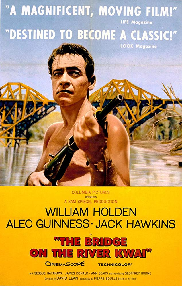 The Bridge on the River Kwai (1957) - Directed by: David LEanStarring: William Holden, Alec Guinnes, JAck HawkinsRated: PG for Mild War ViolenceRunning Time: 2 h 41 mTMM Score: 4.5 stars out of 5STRENGTHS: Acting, Cinematography, Writing, DirectingWEAKNESSES: Some Pacing