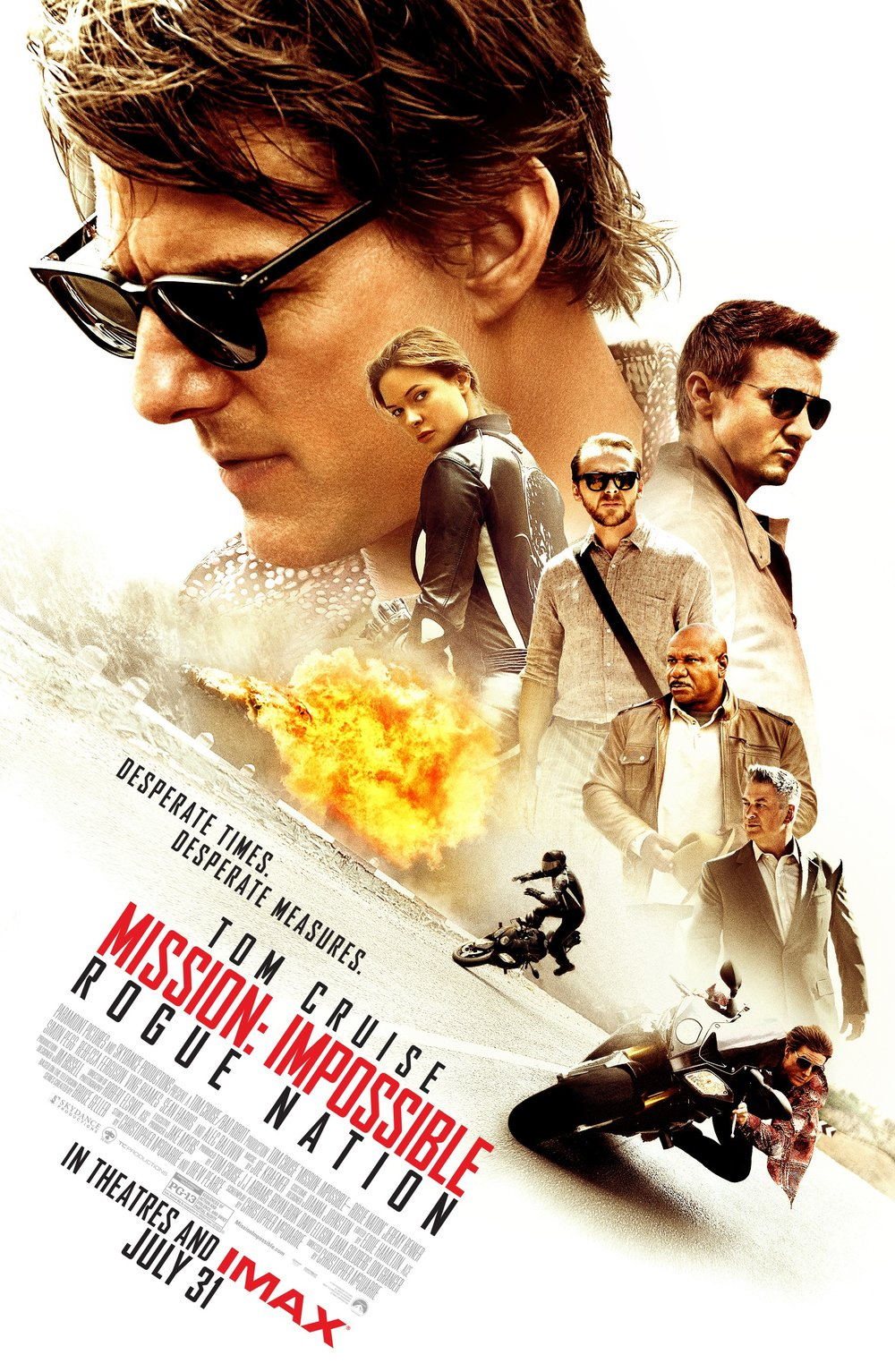 Mission: Impossible: Rogue Nation (2015) - Directed by: Christopher McQuarrieStarring: Tom Cruise, Rebecca Ferguson, Simon PeggRated: PG-13 for Sequences of Action and Violence, and Brief Partial NudityRunning Time: 2 h 11 mTMM Score: 4 stars out of 5STRENGTHS: Action, Humor, Actor ChemistryWEAKNESSES: Stakes, Forgettable Villian