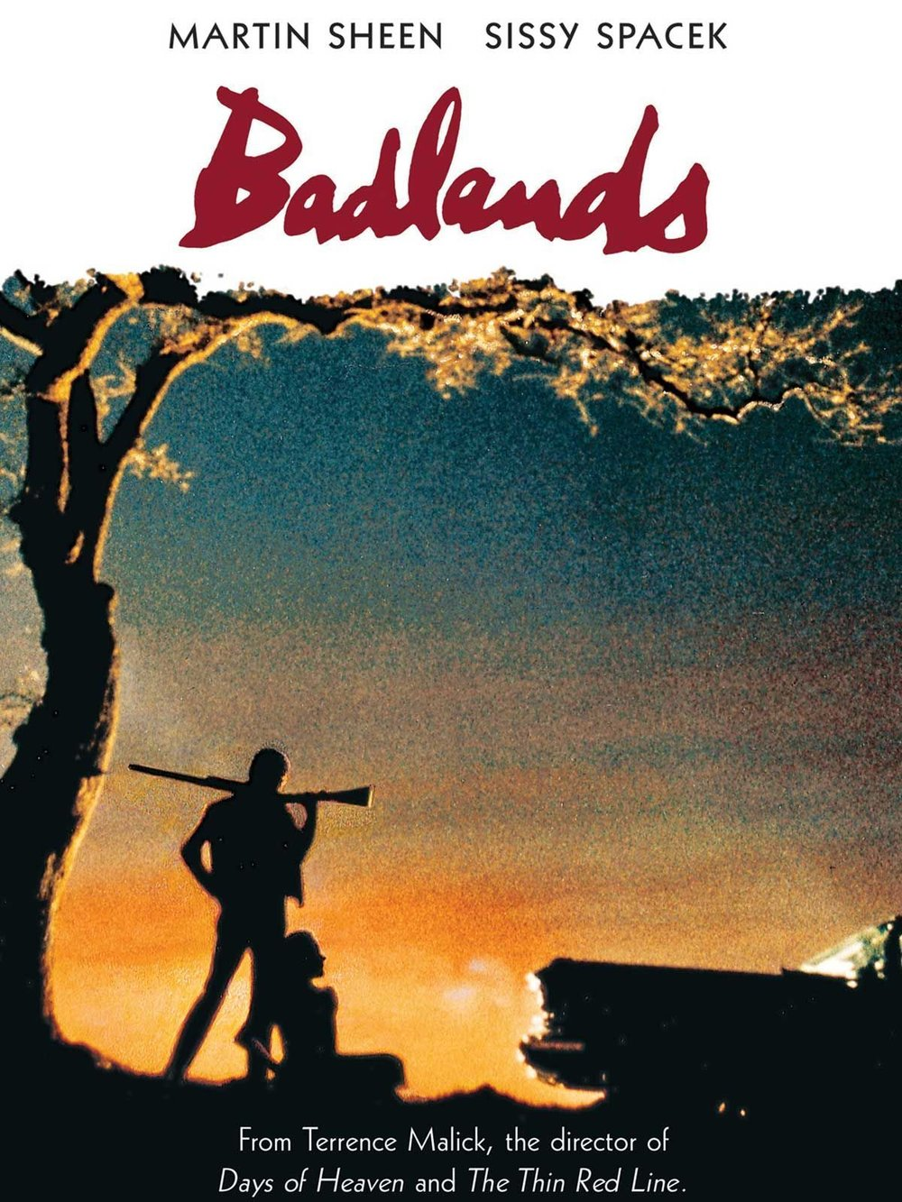 Badlands (1973) - Directed by: Terrence MalickStarring: Martin Sheen, Sissy Spacek, Warren OatesRated: PGRunning Time: 1 h 34 mTMM Score: 5 stars out of 5STRENGTHS: Writing, Directing, Acting, CinematographyWEAKNESSES: -