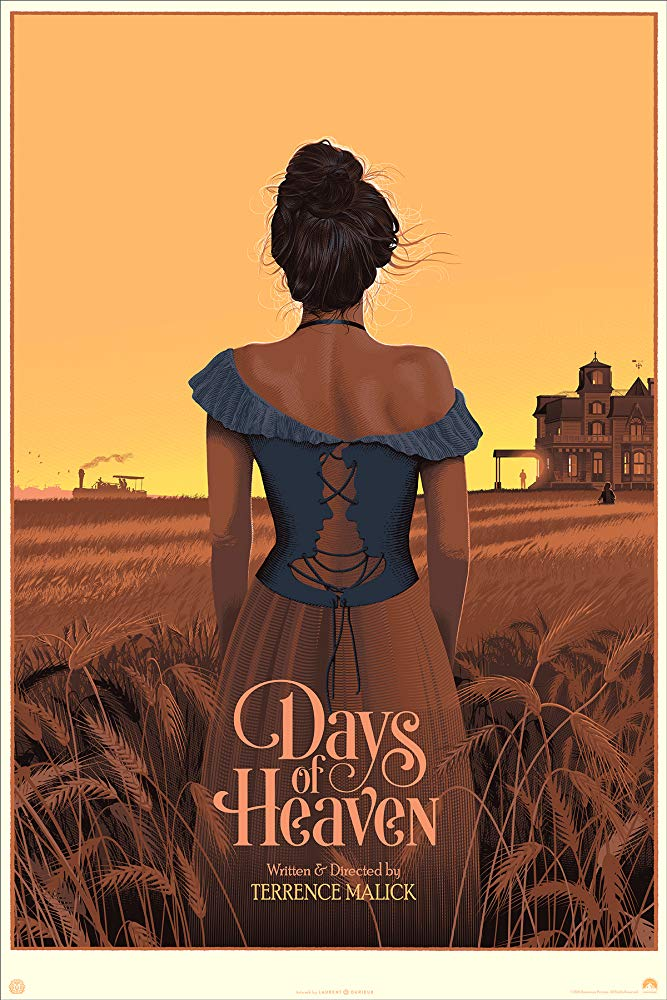 Days of Heaven (1978) - Directed by: Terrence MalickStarring: Richard Gere, Brooke Adams, Sam ShepardRated: PGRunning Time: 1 h 34 mTMM Score: 5 stars out of 5STRENGTHS: Cinematography, Symbolism, WritingWEAKNESSES: -