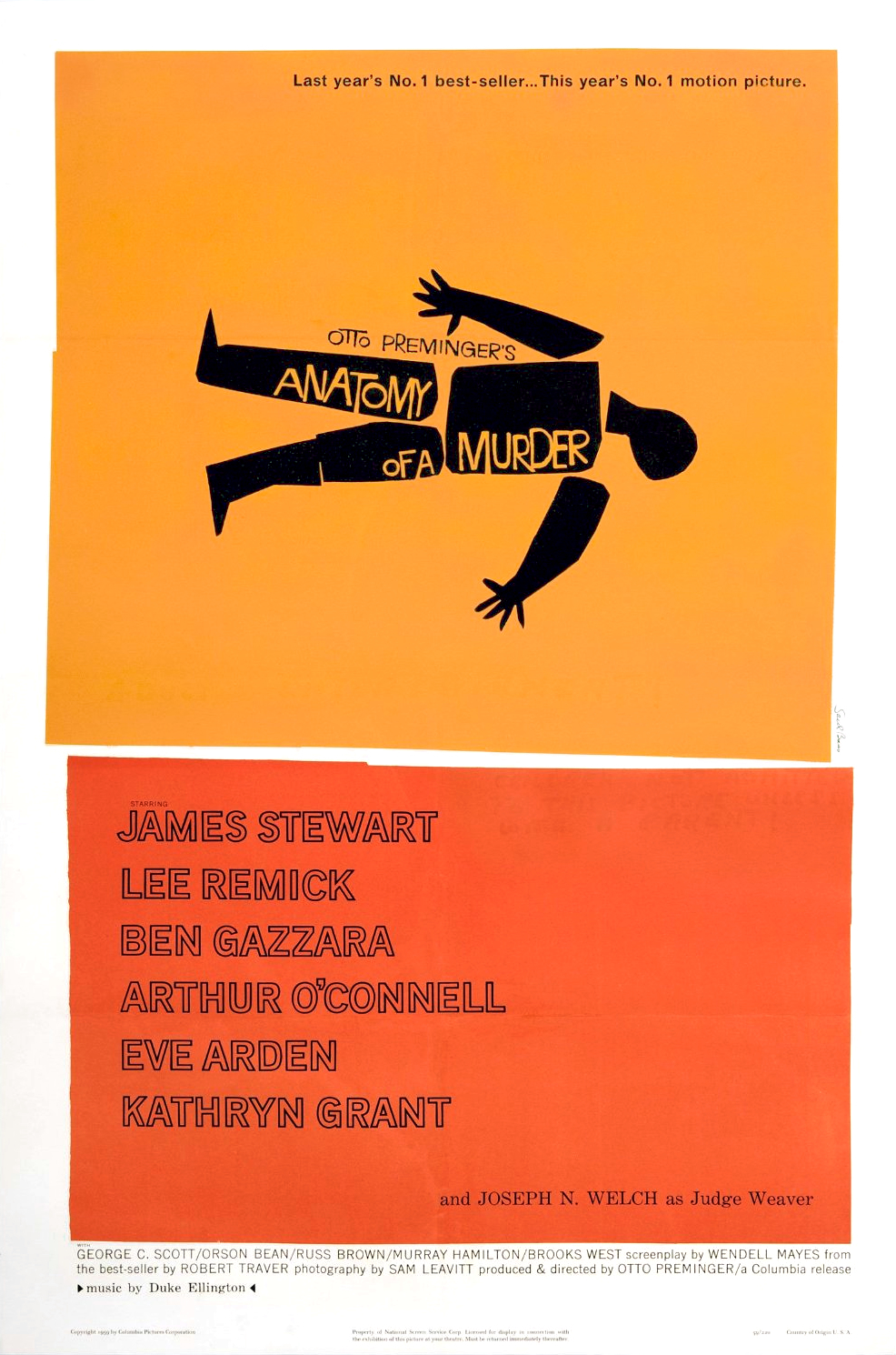 Anatomy of a Murder (1959) - Directed by: Otto PremingerStarring: James Stewart, Lee Remick, Ben Gazzara, Arthur O'Connell, George C. ScottRated: NR (Suggested PG-13 for Thematic Material Including Rape Related Dialogue)Running Time: 2 h 40 mTMM Score: 4 stars out of 5STRENGTHS: Acting, WritingWEAKNESSES: Length
